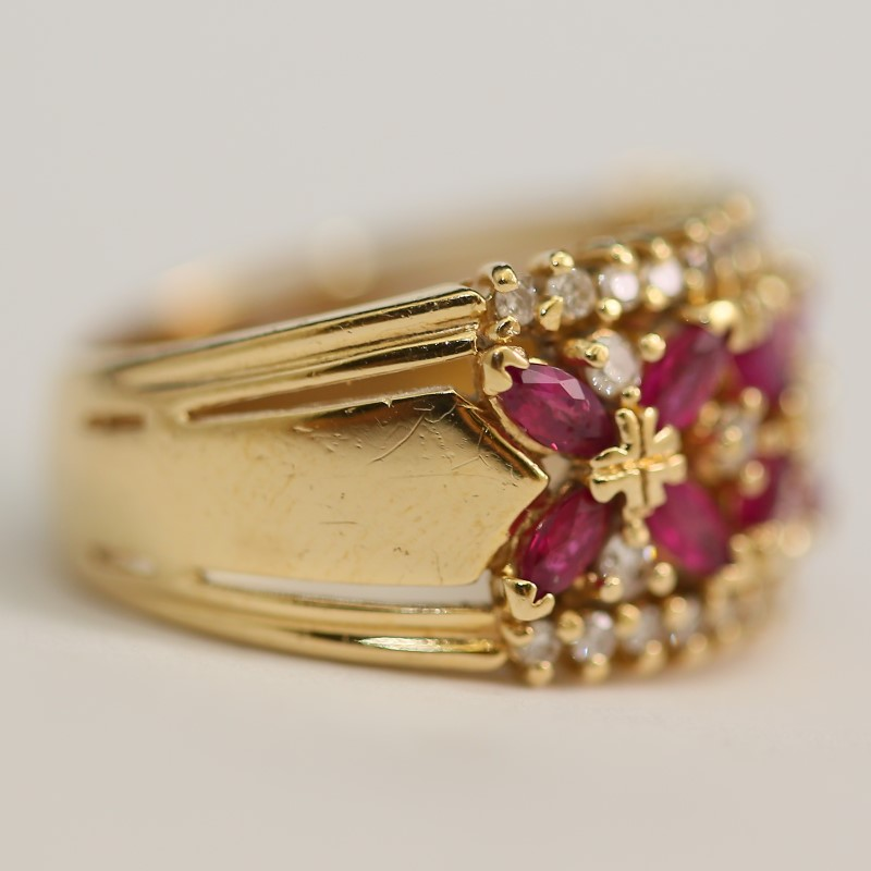 Vintage Ruby and Diamond Floral Styled Ring Size 7