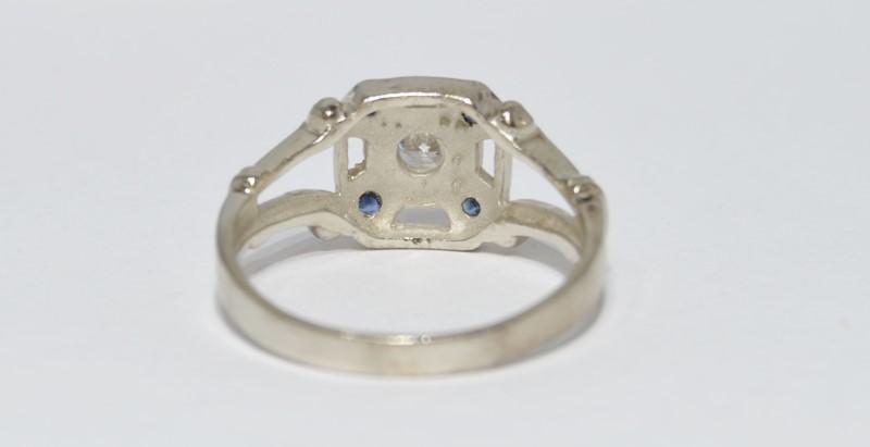 14K White Gold Vintage Set Split Shank Diamond & Sapphire Engagement Ring sz 10