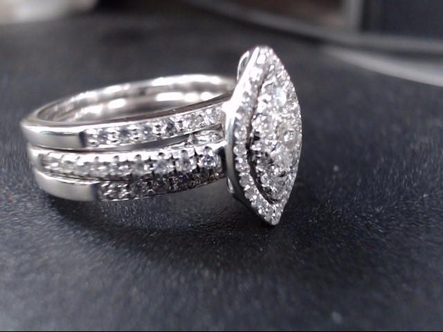 Lady's Diamond Cluster Ring 81 Diamonds 1.26 Carat T.W. 14K White Gold 7g