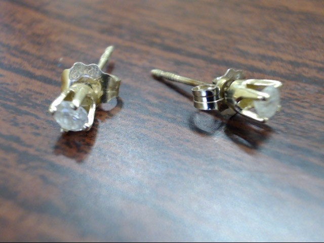 Gold-Diamond Earrings 2 Diamonds .20 Carat T.W. 14K Yellow Gold 0.6g