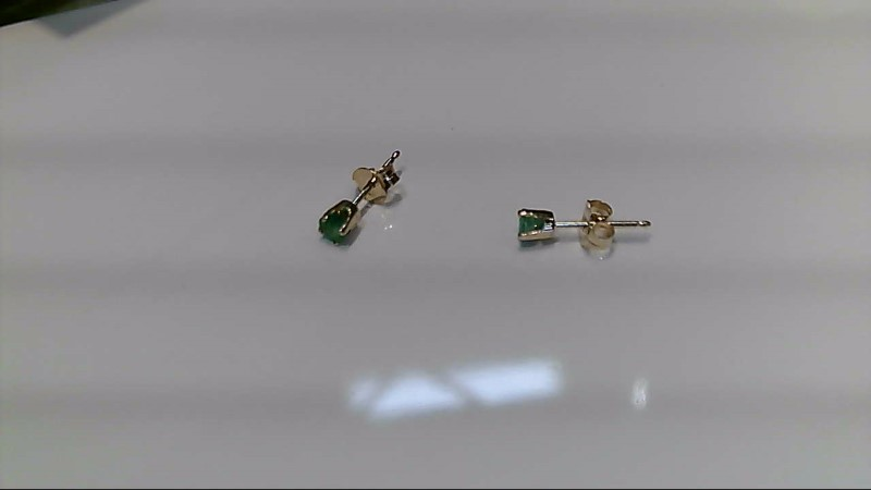 Emerald Gold-Stone Earrings 14K Yellow Gold 0.5g