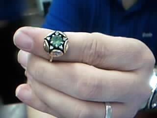 Green Stone Lady's Stone & Diamond Ring 5 Diamonds .15 Carat T.W.