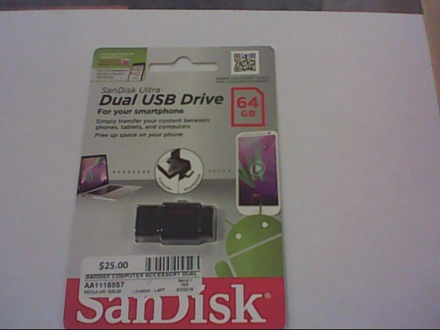 SANDISK Computer Accessories DUAL USB DRIVE 64GB