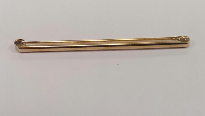 Gold Bar Brooch 18K Yellow Gold 1.8g