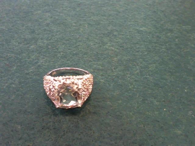 Synthetic Aquamarine Lady's Stone Ring 10K White Gold 5.7g