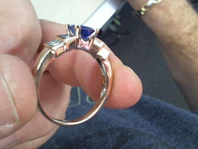Sapphire Lady's Stone & Diamond Ring 12 Diamonds .72 Carat T.W. 14K Yellow Gold