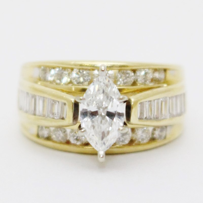 14K Yellow Gold .5ct Marquise Diamond Cathedral Set Enagement Ring sz 5