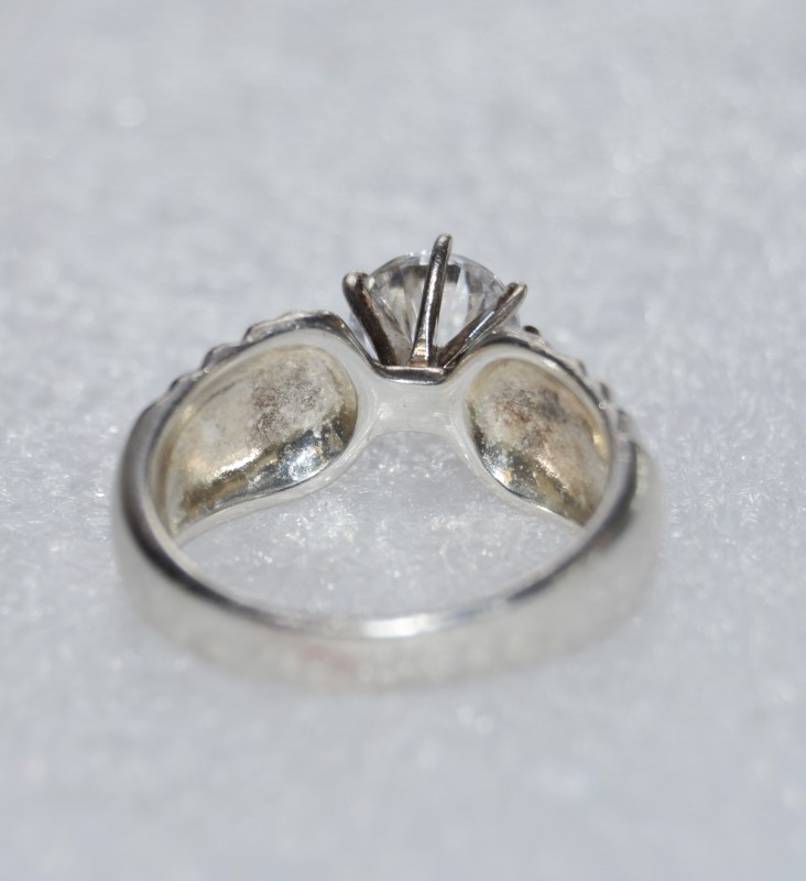 Sterling Silver Wide-Set Tapered Ridged Large Cubic Zirconia Ring 9.75