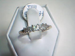 Lady's Gold-Diamond Anniversary Ring 5 Diamonds .75 Carat T.W. 10K White Gold