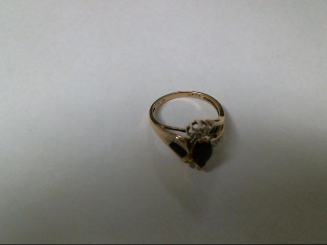 Blue Stone Lady's Stone Ring 10K Yellow Gold 3.3g Size:7