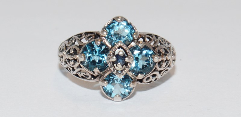 Unique Vintage Inspired Sterling Silver and Aquamarine Ring Size 7.25