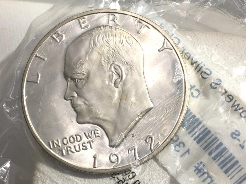 1972 S Ike Dollar - 40% Silver - In Sealed Littleton Coin Pack