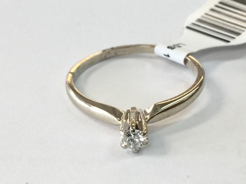 LDS 14KT Lady's Diamond Solitaire Ring DIAMOND .10 CT. 14K White Gold 1.1dwt