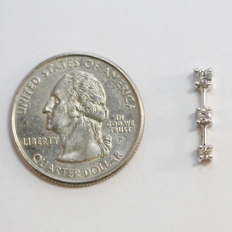 14K White Gold Three Round Brilliant Cut Diamond Pendant