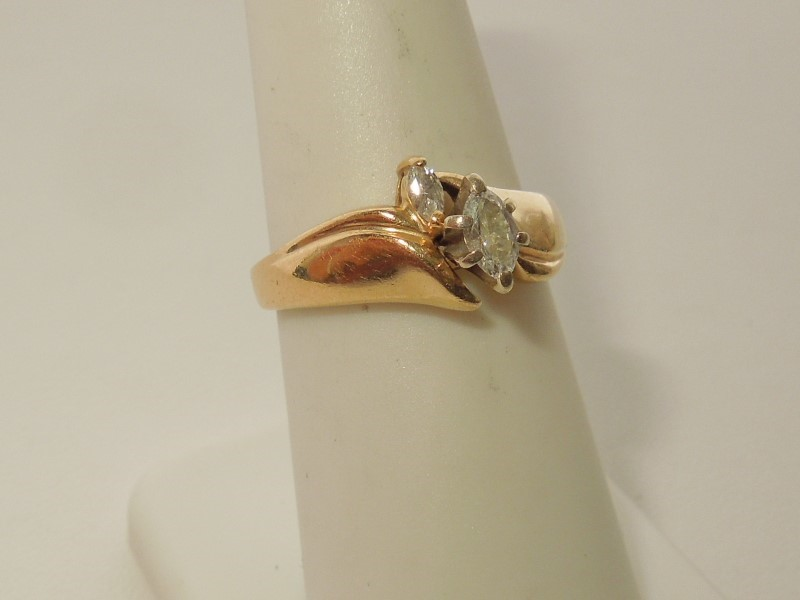 Lady's Gold-Diamond Anniversary Ring 2 Diamonds .23 Carat T.W. 10K Yellow Gold
