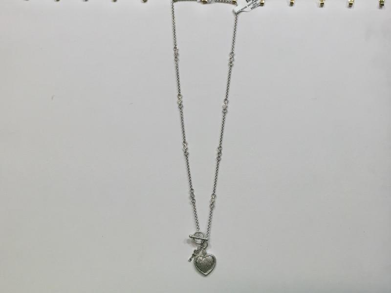 Diamond Heart and Key Necklace 68 Diamonds .34 CTW 925 Silver 11g