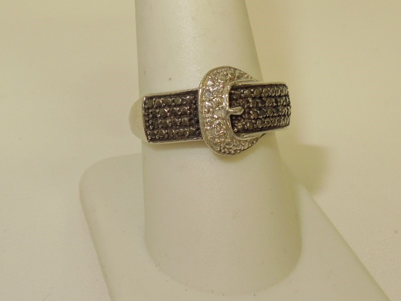 Black Stone Lady's Silver & Stone Ring 925 Silver 4.3g