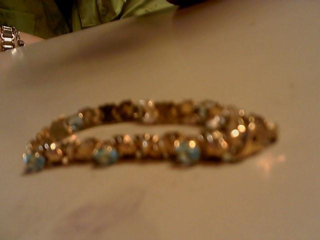 Blue Stone Gold-Stone Bracelet 10K Yellow Gold 7g