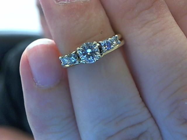Lady's Diamond Wedding Set 5 Diamonds .49 Carat T.W. 14K Yellow Gold 5.3g