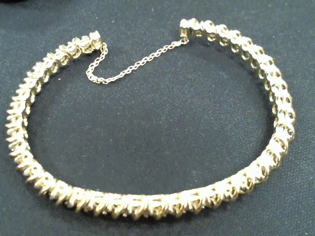 Gold-Diamond Bracelet 40 Diamonds 1.20 Carat T.W. 14K Yellow Gold 17.2g