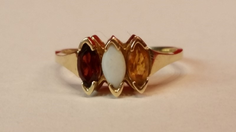Synthetic Citrine Lady's Stone Ring 10K Yellow Gold 2g Size:7