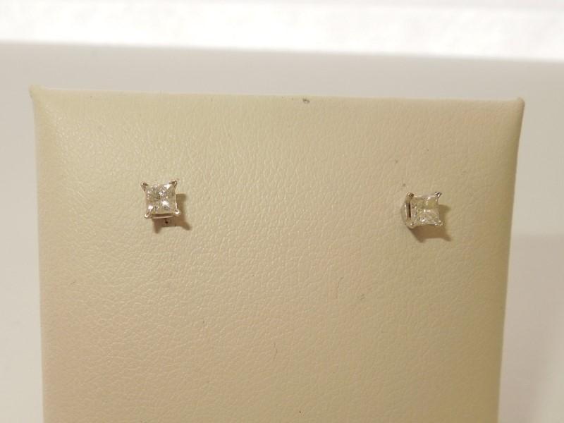 Gold-Diamond Earrings 2 Diamonds .30 Carat T.W. 14K White Gold 0.5g