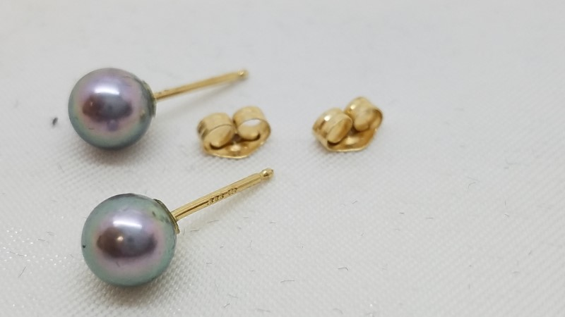 Pearl Gold-Stone Earrings 14K Yellow Gold 0.9g