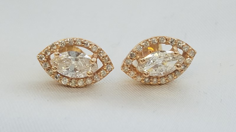 Gold-Diamond Earrings 46 Diamonds 1.54 Carat T.W. 14K Rose Gold 2.7g