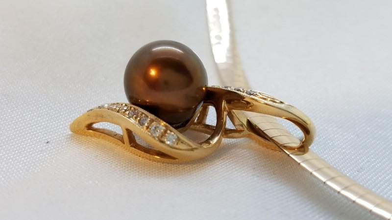 Pearl Diamond & Stone Necklace 16 Diamonds .48 Carat T.W. 14K 2 Tone Gold 24g