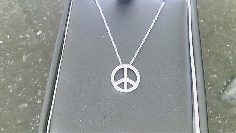 Lady's sterling silver 925 diamond peace sign necklace