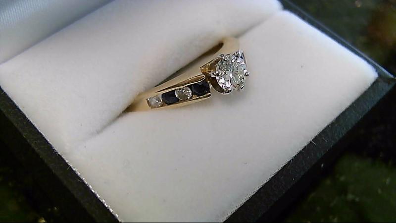 Blue Sapphire & Diamond 14K Yellow Gold Engagement Ring