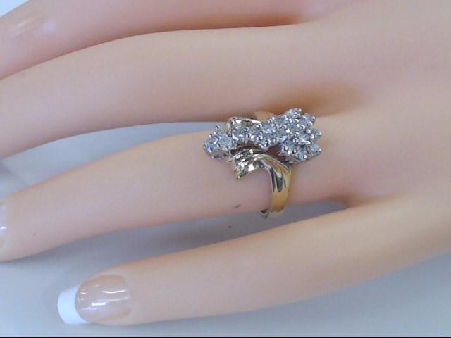 VINTAGE NATURAL DIAMOND CLUSTER RING SOLID 14K GOLD COCKTAIL SZ 6.5