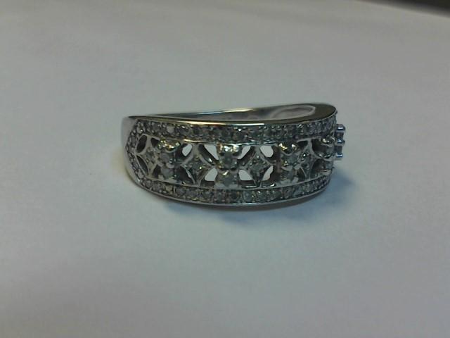 Lady's Gold-Diamond Anniversary Ring 50 Diamonds .340 Carat T.W. 10K White Gold