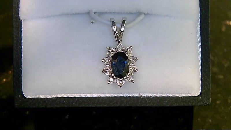 Synthetic Sapphire Gold-Diamond & Stone Pendant 5 Diamonds .05 Carat T.W.