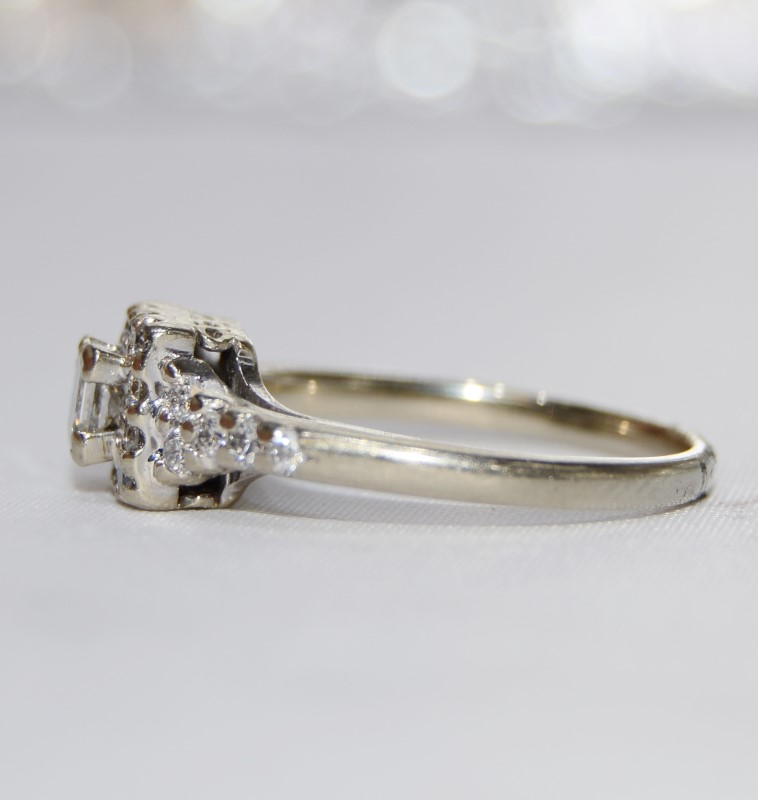 14K White Gold Vintage Inspired Cathedral Princess Diamond Halo Engagement Ring