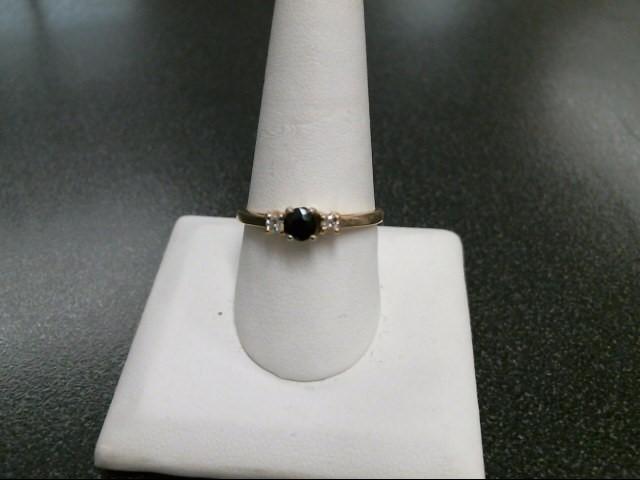 Black Stone Lady's Stone & Diamond Ring 2 Diamonds .06 Carat T.W.
