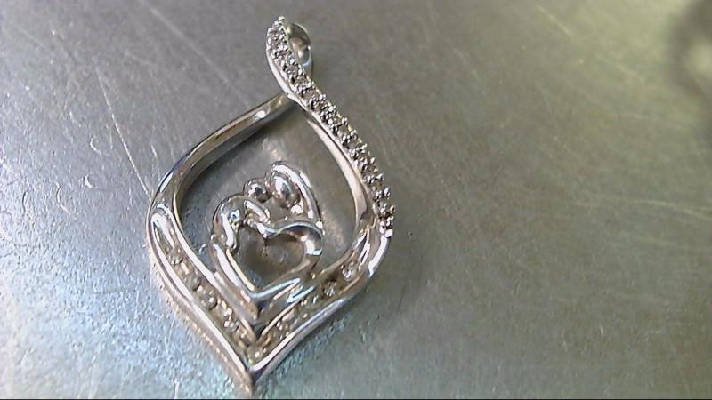 Silver Mother Child Pendant w/23 Diamonds .115 CTW 2.6g