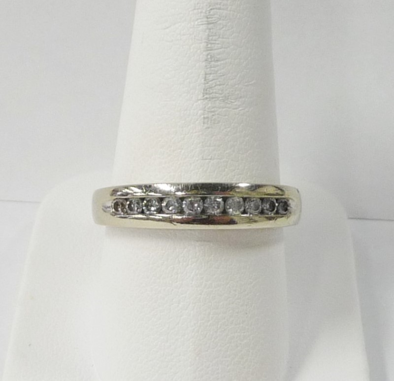 Gent's Gold-Diamond Wedding Band 10 Diamonds .50 Carat T.W. 10K White Gold