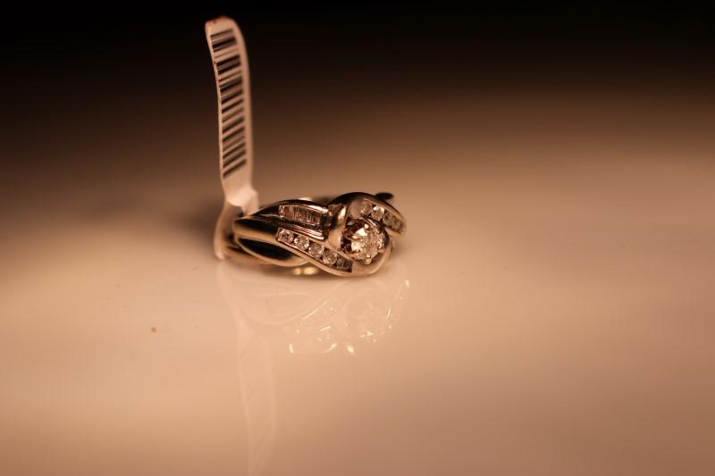 Lady's Diamond Wedding Set 9 Diamonds .24 Carat T.W. 14K White Gold 6.22g