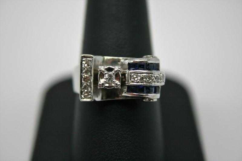 ANTIQUE GENT'S DIAMOND & SAPPHIRE RING 14K WHITE GOLD