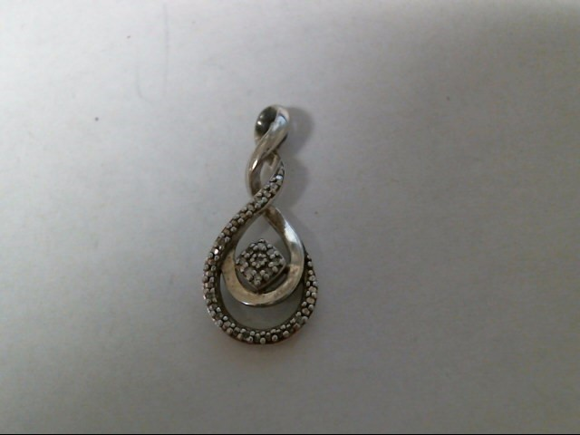 Silver-Diamond Pendant 9 Diamonds .045 Carat T.W. 925 Silver 2g