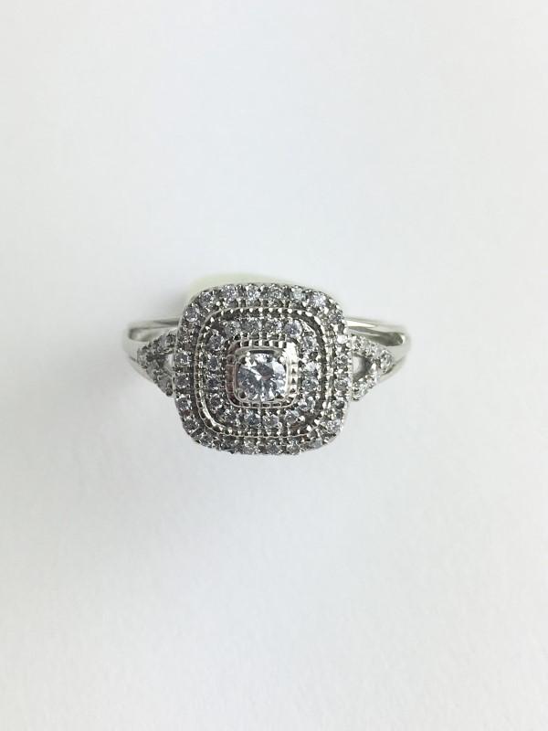 Diamond Cluster Ring 59 Diamonds .65 Carat T.W. 10K White Gold 3.2g