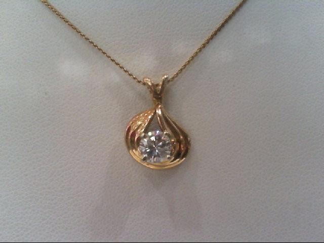 Gold-Diamond Solitaire Pendant .54 CT. 14K Yellow Gold 3g