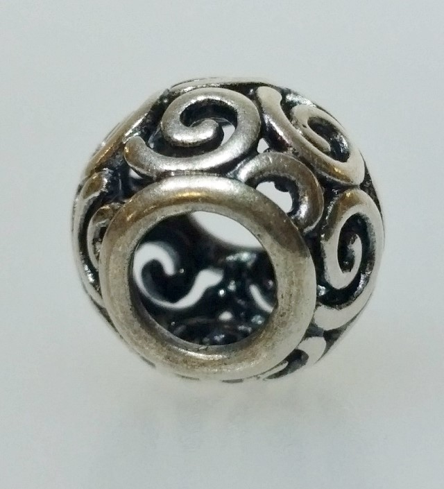 "Authentic Pandora 925 ALE Silver ""Ocean Breeze"" Swirl European Bead Charm 790896"