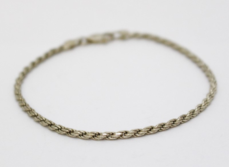 """7"""" Sterling Silver Rope Chain Bracelet"""