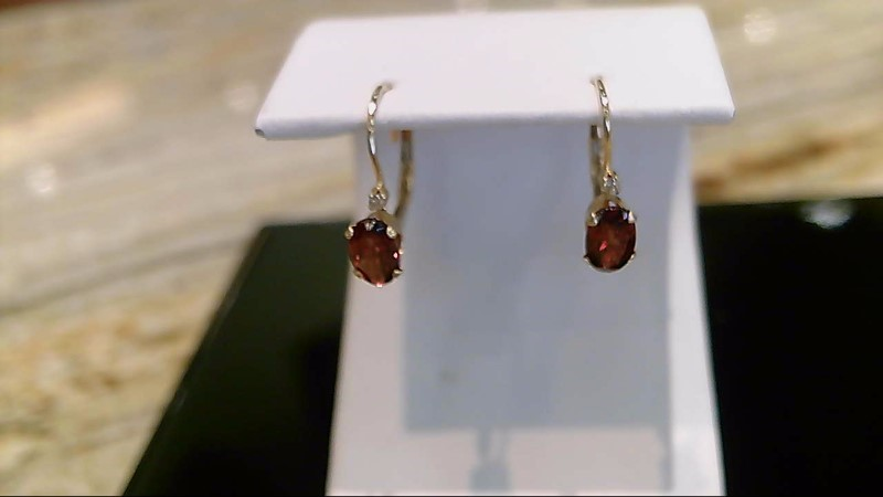 Lady's 14k yellow gold oval garnet round diamond lever back earrings