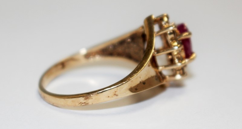 Ruby Lady's Stone & Diamond Ring 10 Diamonds .30 Carat T.W. 10K Yellow Gold