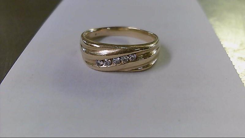 Gent's Gold-Diamond Wedding Band 5 Diamonds .25 Carat T.W. 14K Yellow Gold 7.3g