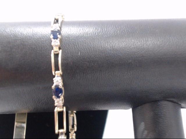 Synthetic Sapphire Gold-Diamond & Stone Bracelet 20 Diamonds .20 Carat T.W.