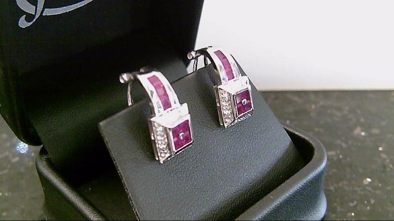 Lady's 14k white gold genuine princess cut and round diamond earrins